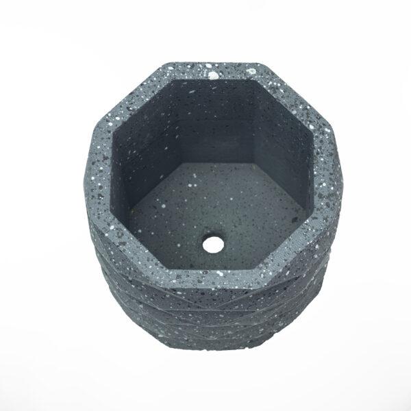 Black Hexagon Concrete Cement Pot